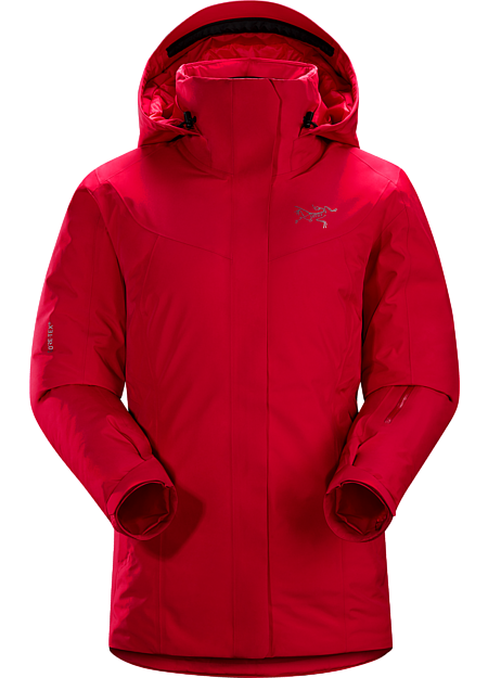 Waterproof, down insulated jacket for cold days skiing and snowboarding in resort