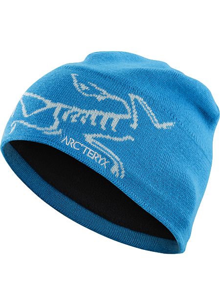 Stylish wool/acrylic mix toque with large knitted bird logo