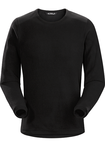 Arc'teryx craftsmanship in a men's crew neck wool blend sweater for wear in town.