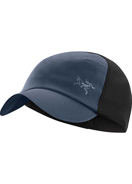A technical trucker hat made from breathable  nylon fabric and featuring a stretch mesh back.