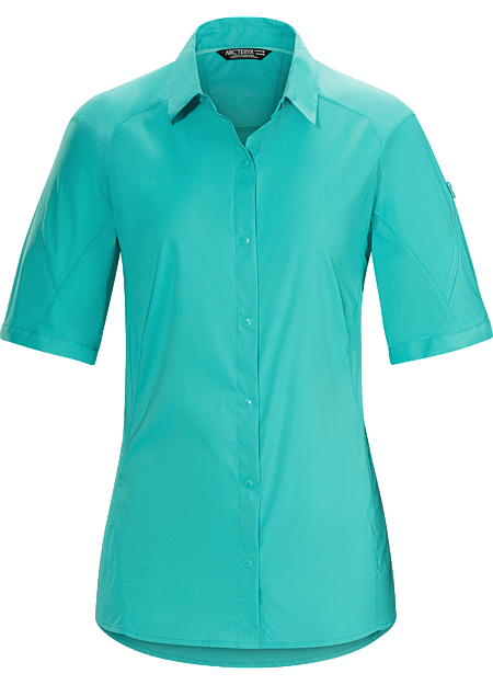 Light, quick drying, snap-front nylon shirt provides air permeable comfort while hiking and trekking in hot weather.