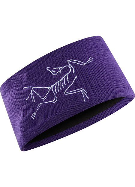 Wide snow-sport oriented headband with tonal embroidered bird on right temple. Fleece lined for additional warmth and comfort.