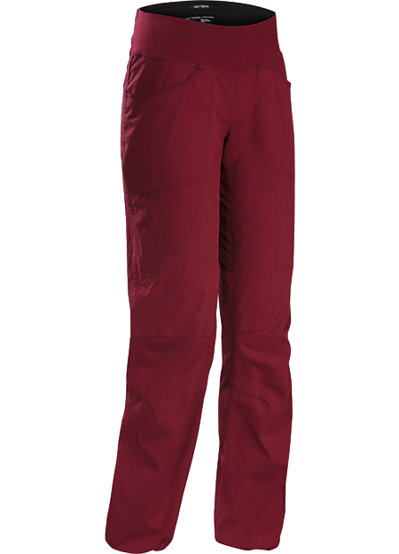 Lightweight stretch canvas climbing pant with casual style for wear around town.