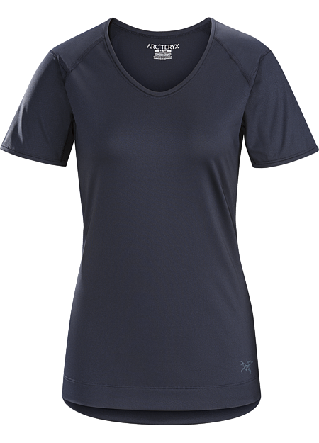 Lightweight Crystalis™ women's technical tee with excellent stretch and classic ringer styling.