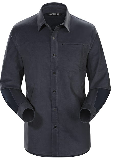 Casual, long sleeved cotton blend corduroy shirt with contrasting canvas reinforcements.