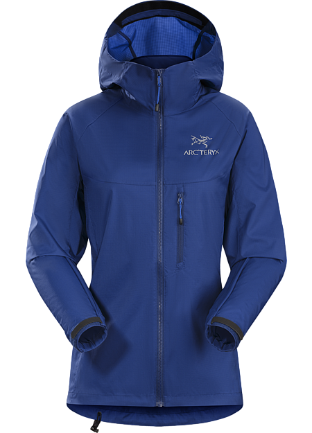 Super lightweight, durable and compressible hooded jacket; Ideal as a wind resistant layer for warm weather activities