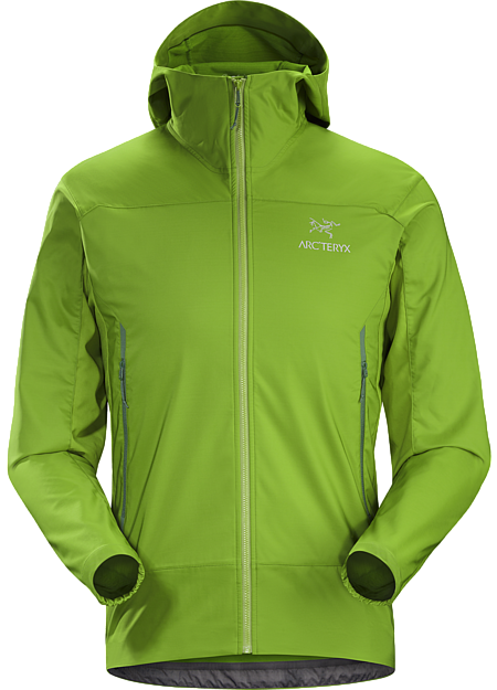 Lightweight, packable, wind resistant Kauss™ softshell hoody with air permeable, stretch side panels. Designed for hiking and trekking in windy, cool conditions.