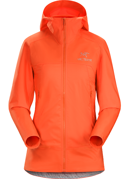 Women's lightweight, packable, wind resistant Kauss™ softshell hoody with air permeable, stretch side panels. Excellent for hiking and trekking in windy, cool conditions.