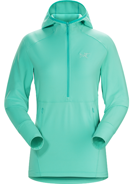 Women's lightweight, versatile fleece pullover with a snug fitting hood. Designed for rock, ice and alpine climbing.