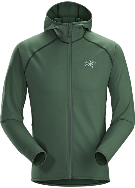 Versatile stretch fleece hoody performs as a mid layer or standalone.