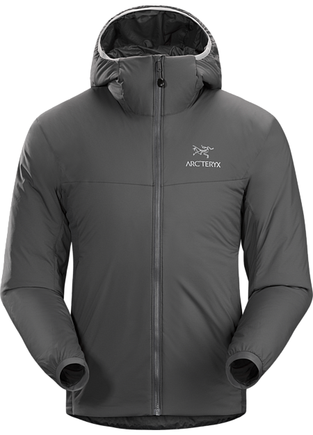 Insulated, mid layer hoody with wind and moisture resistant outer shell; Ideal as a layering piece for cold weather activities. Atom Series: Synthetic insulated mid layers | LT: Lightweight.