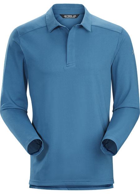 Long sleeved autumn weight polo combines moisture wicking performance fabric with a clean Arc'teryx aesthetic.