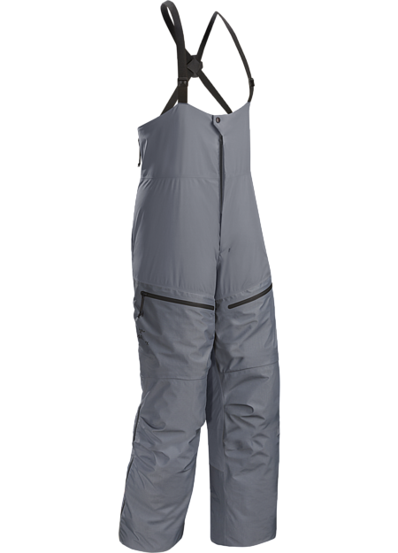 Exceptionally warm down bib pant, fully featured for cold weather conditions.