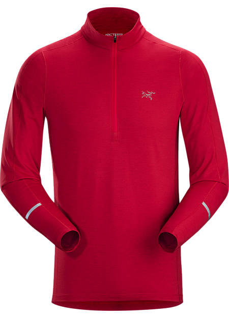 Cormac Zip Neck Shirt LS Men's Red Beach