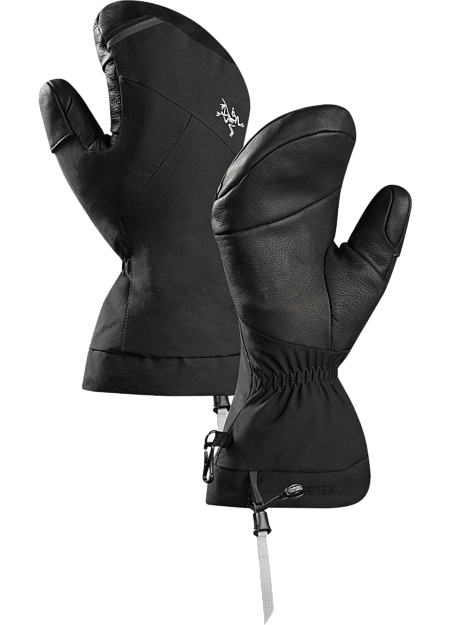 Versatile, durable Primaloft® insulated GORE-TEX winter mitten with leather reinforcements on the palm and fingers.