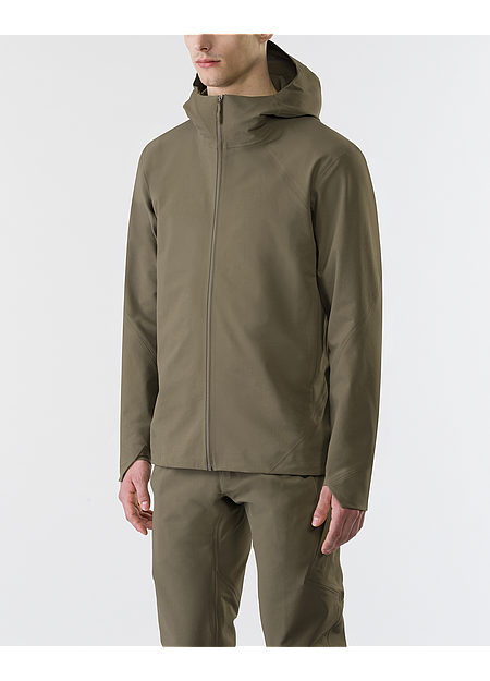 Wind and water resistant hooded jacket.