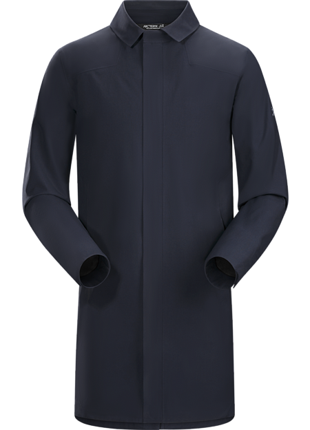 Waterproof, breathable GORE-TEX trench coat for bike commutes and city living.
