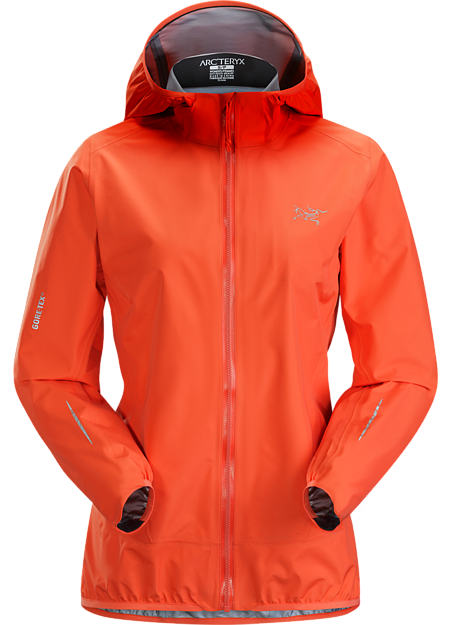 Ultra minimalist waterproof breathable women's GORE-TEX shell for high output activities in wet, windy weather.