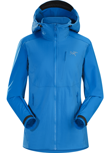 Women's hooded softshell with a precision fit and hybrid construction. Purpose built for rock and alpine climbing.
