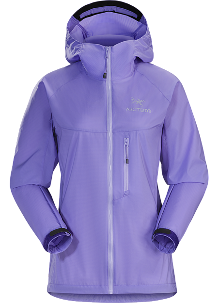 Superlight, durable and compressible hooded jacket; Ideal as a wind resistant layer for warm weather activities