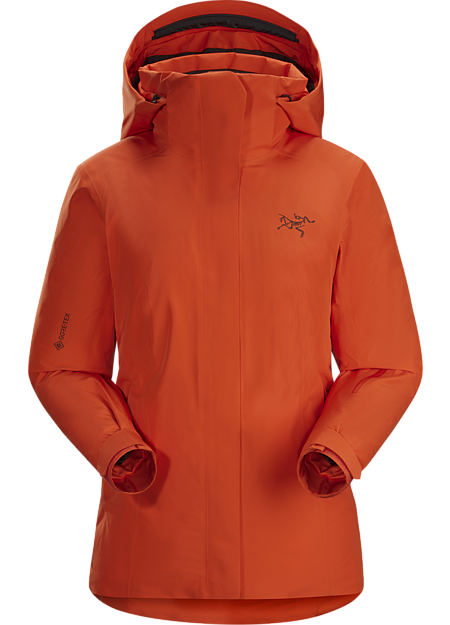 Waterproof, down insulated jacket for cold days skiing and snowboarding in resort.