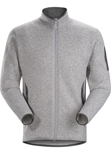 Clean, casual lines and technical performance fleece combine in a jacket with wool sweater styling.