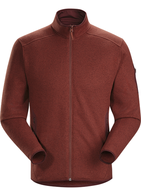 Clean, casual technical fleece cardigan with versatile wool sweater styling.