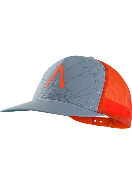Versatile, highly air permeable flat brim trucker hat with large Arc'teryx 'A' logo.