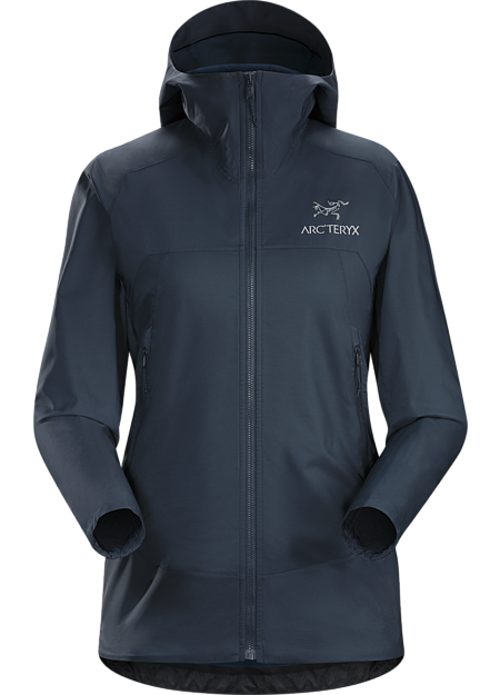 Lightweight, packable, wind resistant Kauss™ softshell hoody with air permeable, stretch side panels. Excellent for hiking and trekking in windy, cool conditions.