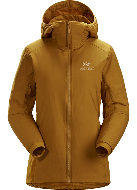 Light, versatile synthetically insulated hoody works as a midlayer and standalone. Atom Series: Synthetic insulated midlayers. | LT: Lightweight.