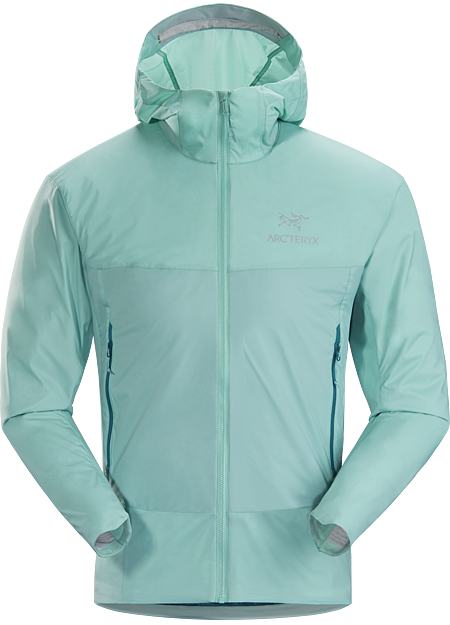 Lightly insulated Coreloft™ Compact hooded jacket with air permeable side panels. Atom Series: Synthetic insulated mid layers | SL: Superlight.