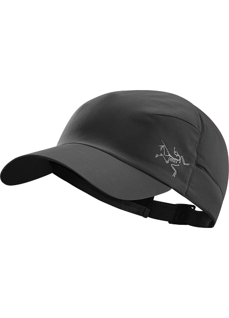 Lightweight cap with DWR (durable water repellent) treatment provides sun protection and moisture management during fast paced mountain training in warm conditions.