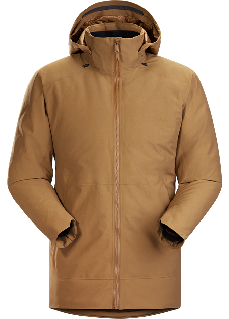 Refined urban style in a warm, weatherproof, down insulated, hip length parka with a removable hood.