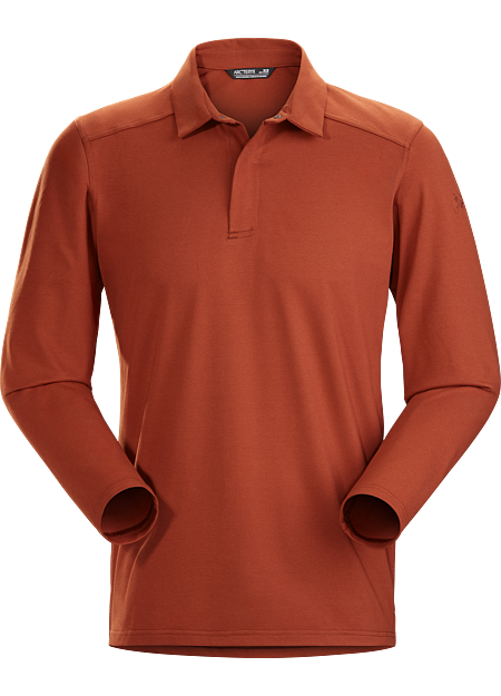 Long-sleeve polo for cool weather performance with a refined aesthetic.