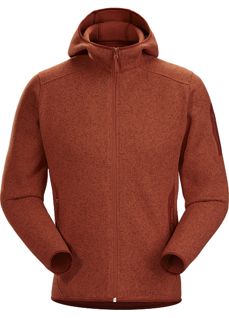 Clean, casual technical fleece hoody with versatile wool sweater styling.