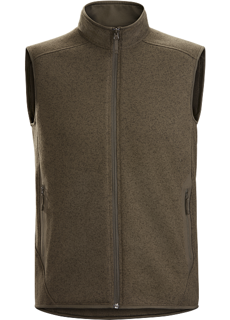 Clean, casual lines and technical performance fleece combine in a vest with wool sweater styling.