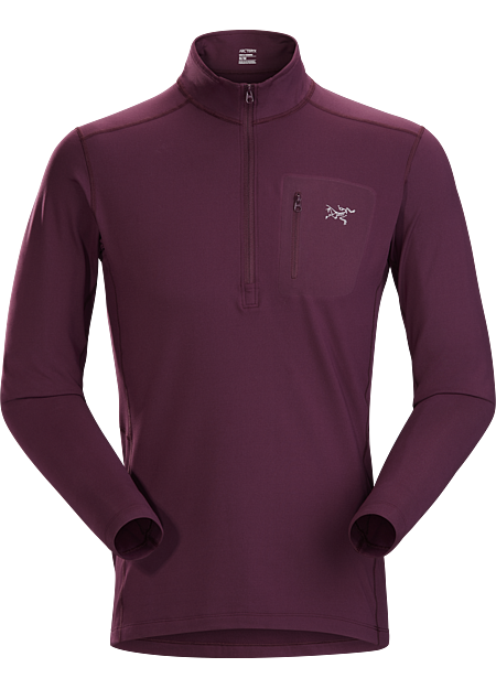 Lightweight Torrent™ zip neck base layer for lower output activities in cool temperatures.