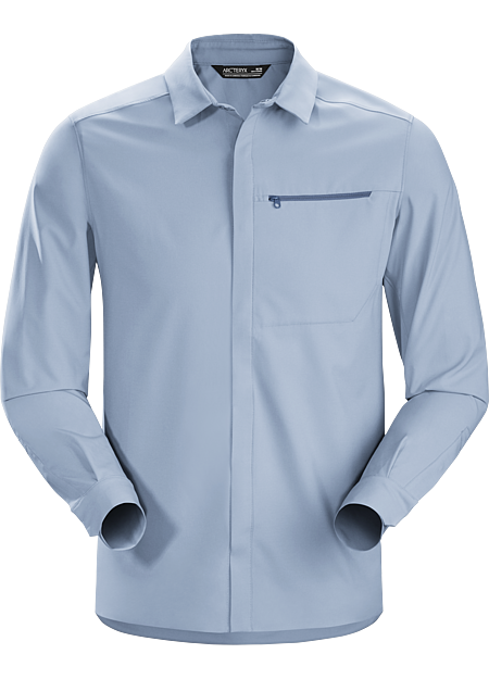 Long sleeve, modern snap-front in a lightweight, wrinkle-resistant performance fabric.