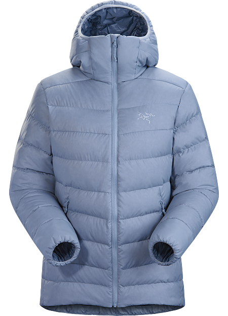 Versatile women's insulated hoody made with durable Arato™ 30 face fabric and lofty 750 fill grey goose down. Functions as a cold weather midlayer or standalone piece in cool, dry conditions. Down Series: Down insulated garments | AR: All Round.