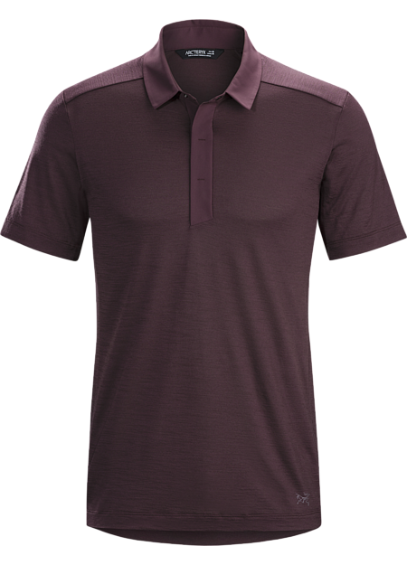 Short sleeve bike commuters' polo made from Polylain™ Merino blend fabric.