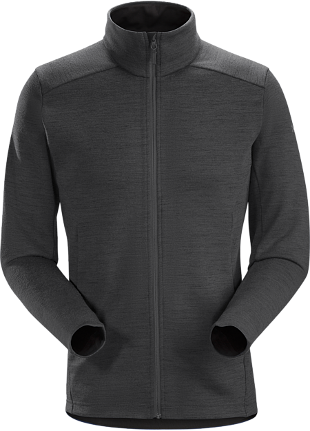Performance Merino blend midlayer for bike commutes and urban living.