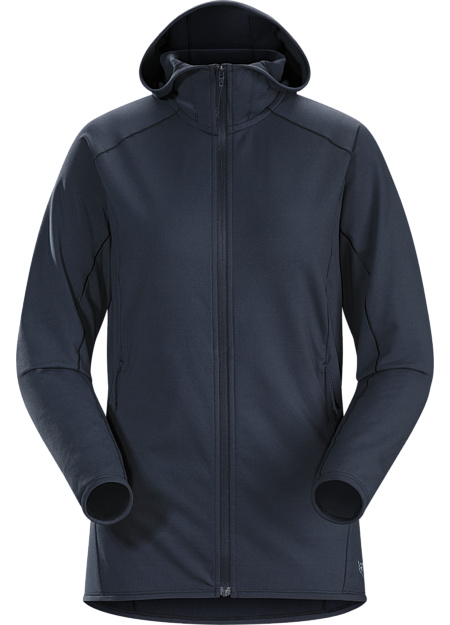 Versatile stretch fleece hoody performs as a midlayer or standalone.