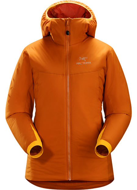 Warm insulated Coreloft™ jacket with an insulated hood; Ideal for use as a super-warm mid-layer in cold conditions, or as a stand-alone piece in warmer conditions. Atom Series: Synthetic insulated mid layers | AR: All-Round.