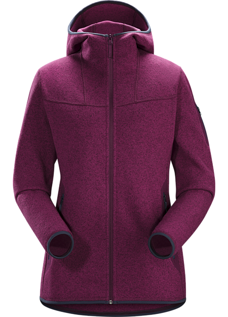 Clean, casual lines and technical Alpenex™ fleece performance combine in a hooded jacket with wool sweater styling