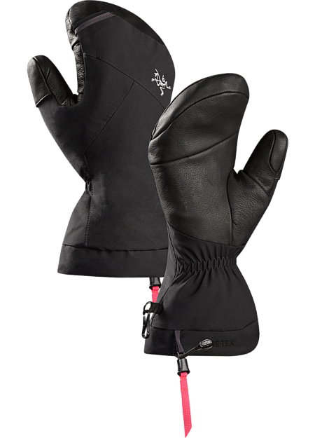 Versatile, durable Primaloft® insulated GORE-TEX® winter mitten with leather reinforcements on the palm and fingers.