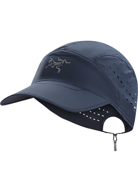 Ultra lightweight, ventilated, wind and water resistant nylon cap for running and high output activities.
