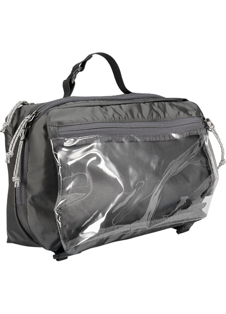 Large, five compartment travel bag for toiletries. A removable pouch with clear panel separates liquids from other items speeds passage through airport security.