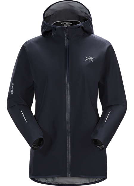 Ultra minimalist waterproof breathable women's GORE-TEX® shell for high output activities in wet, windy weather.