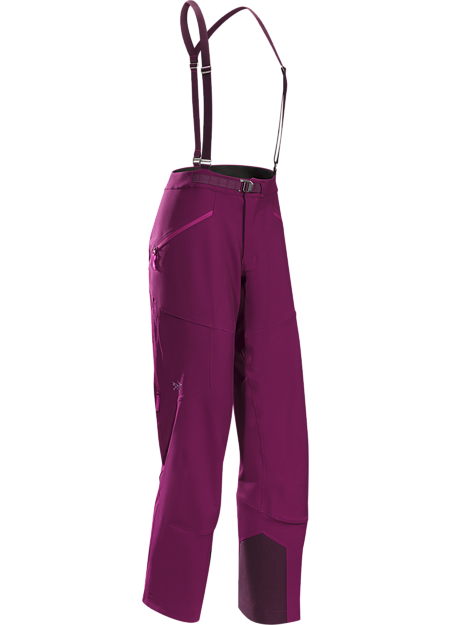 Women's trim fit ski alpinist's softshell pant providing performance stretch, freedom of movement, snow protection and thermal management during high output technical climbs and challenging ski descents.