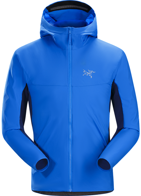 Ski alpinist's hybrid fleece hoody that delivers thermal management and freedom of movement during high output technical ascents.